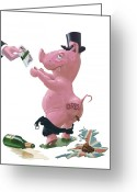 Recession Greeting Cards - Fat British Bank Pig Getting Government Handout Greeting Card by Martin Davey