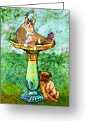 Kitty Greeting Cards - Fat Cat and Pug Greeting Card by Mary Ogle
