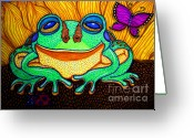 Frog Art Greeting Cards - Fat Green Frog on a Sunflower Greeting Card by Nick Gustafson