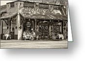 St. Charles Greeting Cards - Fat Hen Grocery sepia Greeting Card by Steve Harrington