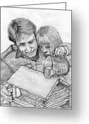 Feeding Drawings Greeting Cards - Father and Daughter Pencil Portrait Greeting Card by Romy Galicia