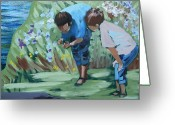 Nature Study Painting Greeting Cards - Father and Son Detail of Spring 1 Greeting Card by Jan Swaren