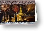 Pyrotechnics Digital Art Greeting Cards - Father celebrate in Wat Phra Kaew  Greeting Card by Anek Suwannaphoom