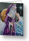 Cal Kimola Greeting Cards - Father Christmas Greeting Card by Cal Kimola