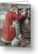 Noel Greeting Cards - Father Christmas Greeting Card by Karl Roger