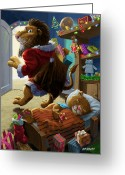 M P Davey Digital Art Greeting Cards - Father Christmas lion delivering presents Greeting Card by Martin Davey