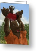 Boy Room Art Greeting Cards - father Rhino with son Greeting Card by Martin Davey