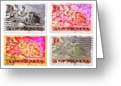 Postage Stamp Greeting Cards - Faux Poste Bunnies Greeting Card by Carol Leigh