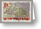 Postage Stamp Greeting Cards - Faux Poste Bunny 1d Greeting Card by Carol Leigh