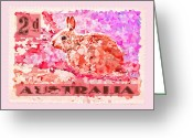 Postage Stamp Greeting Cards - Faux Poste Bunny 2d Greeting Card by Carol Leigh