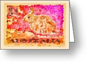 Postage Stamp Greeting Cards - Faux Poste Bunny 3d Greeting Card by Carol Leigh
