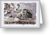 Postage Stamp Greeting Cards - Faux Poste Bunny 4d Greeting Card by Carol Leigh