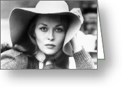 1960s Fashion Greeting Cards - Faye Dunaway (1941- ) Greeting Card by Granger