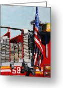 Fire Hose Greeting Cards - FDNY ENGINE 59 American Flag Greeting Card by Paul Walsh