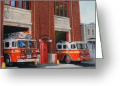 Cities Greeting Cards - FDNY Engine 88 and Ladder 38 Greeting Card by Paul Walsh