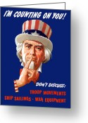 Fdr Greeting Cards - FDR As Uncle Sam Greeting Card by War Is Hell Store