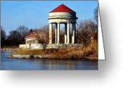 Photographs Digital Art Greeting Cards - FDR Park Gazebo and Boathouse Greeting Card by Bill Cannon