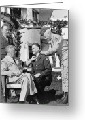 Fdr Greeting Cards - FDR Presenting Medal Of Honor To William Wilbur Greeting Card by War Is Hell Store