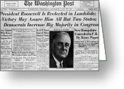Washington Post Greeting Cards - Fdr: Reelection, 1936 Greeting Card by Granger