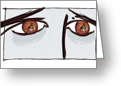 The Language Greeting Cards - Fearful Eyes, Artwork Greeting Card by Paul Brown