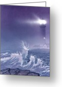 Waves Painting Greeting Cards - Fearless - Psalm 27 Greeting Card by Cliff Hawley