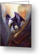 Bird Of Prey Mixed Media Greeting Cards - Fearless Greeting Card by Carol Cavalaris