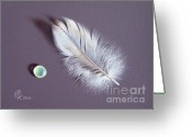 Glass Drawings Greeting Cards - Feather and sea glass 2 Greeting Card by Elena Kolotusha