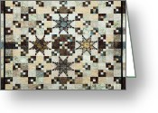 Squares Tapestries - Textiles Greeting Cards - Feathered Star Greeting Card by Patty Caldwell