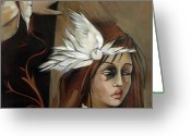 Hand Painting Greeting Cards - Feathers on Broken Girl Greeting Card by Jacque Hudson-Roate