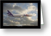 Military Artwork Greeting Cards - FedEx MD-11 Greeting Card by Larry McManus