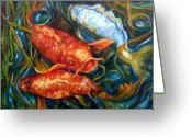 Fish Pond Painting Greeting Cards - Feed Me Greeting Card by Peggy Wilson