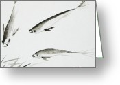Shuimo Greeting Cards - Feeding Frenzy Greeting Card by Oiyee  At Oystudio