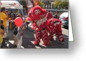 Life In The City Greeting Cards - Feeding The Chinese Lion Dog Greeting Card by Alfred Ng