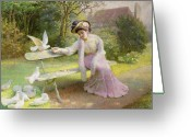 Mink Greeting Cards - Feeding the Doves  Greeting Card by Edmond Alphonse Defonte