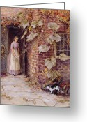 Kitty Greeting Cards - Feeding the Kitten Greeting Card by Helen Allingham