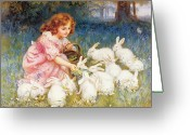 White Dress Greeting Cards - Feeding the Rabbits Greeting Card by Frederick Morgan