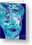 Wise Man Greeting Cards - Feeling Blue Greeting Card by Mimo Krouzian