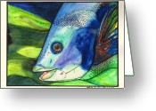 Blues And Greens Greeting Cards - Feeling Fishy Greeting Card by Chris Crowley