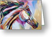 Horse Greeting Cards - Feeling the Wind Greeting Card by Cher Devereaux