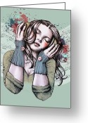 Nirvana Mixed Media Greeting Cards - Feels Like the Wind Blows Greeting Card by Sarah Mac