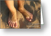 Kid Photo Greeting Cards - Feet of a child in the sand Greeting Card by Matthias Hauser