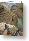 River Scenes Greeting Cards - Feet Shod In River Shoes On An Overlook Greeting Card by Bobby Model