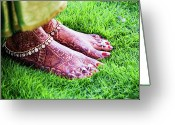 One Person Photo Greeting Cards - Feet With Mehndi On Grass Greeting Card by Athul Krishnan (www.athul.in)