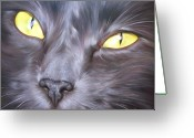 Feline Painting Greeting Cards - Feline face 1 Greeting Card by Elena Kolotusha