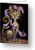 Cat Painting Greeting Cards - Feline Fantasy Greeting Card by Jeff Haynie