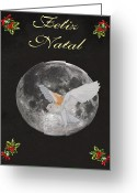 Lesvos Greeting Cards - Felix Natal Barn Owl Portuguese Merry Christmas Greeting Card by Eric Kempson
