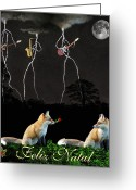 Eftalou Greeting Cards - Felix Natal Portuguese Fox Christmas card Greeting Card by Eric Kempson