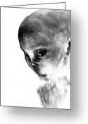 Outer Space Greeting Cards - Female Alien Portrait Greeting Card by Bob Orsillo