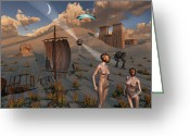 Origin Greeting Cards - Female Explorers Study Ancient Egyptian Greeting Card by Mark Stevenson