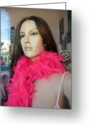 High Fashion Greeting Cards - Female Face Mannequin Art Pink Feathers Greeting Card by Kathy Fornal